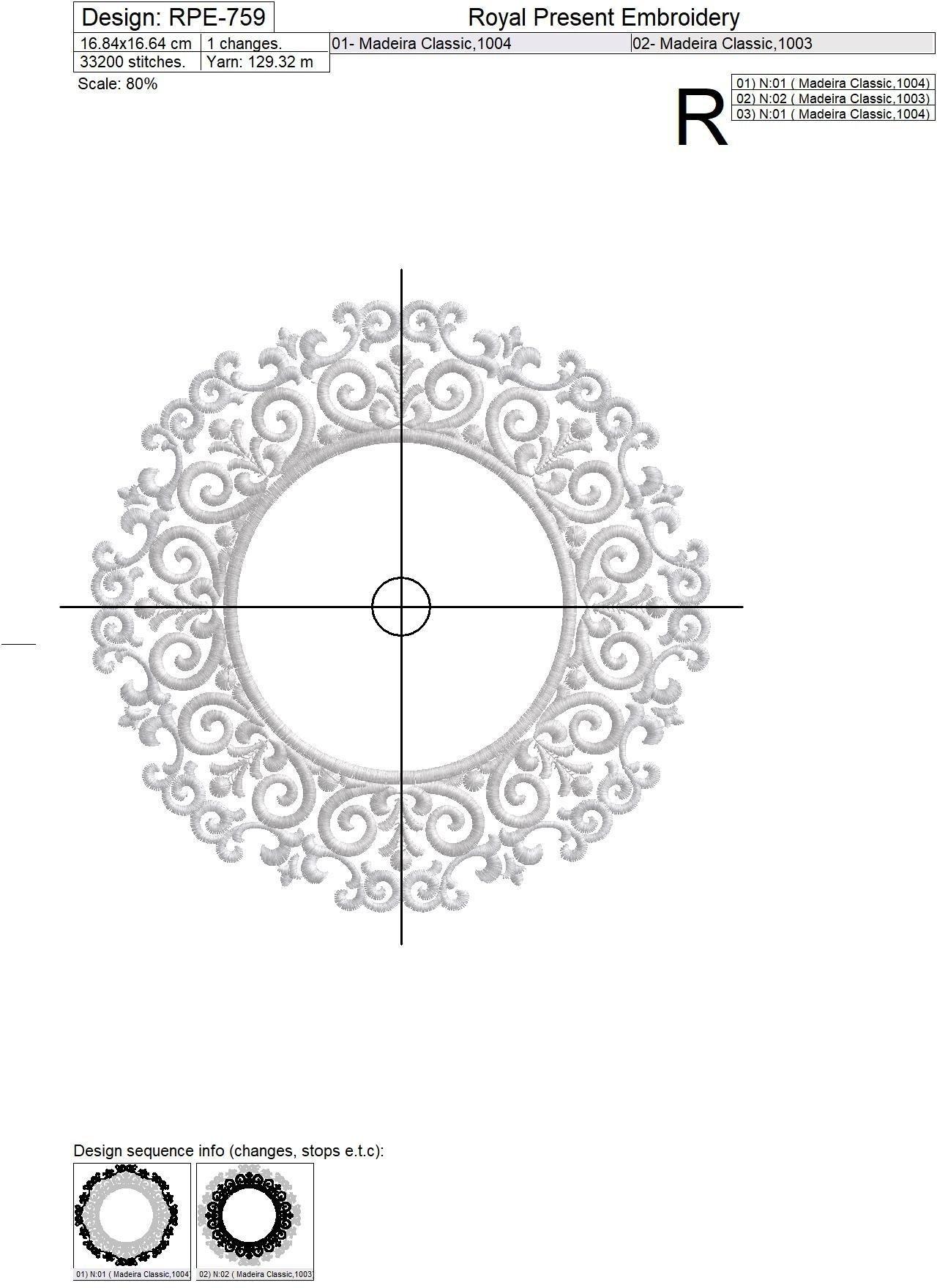 Свадебная рамка Дизайн для машинной вышивки - 3 размера