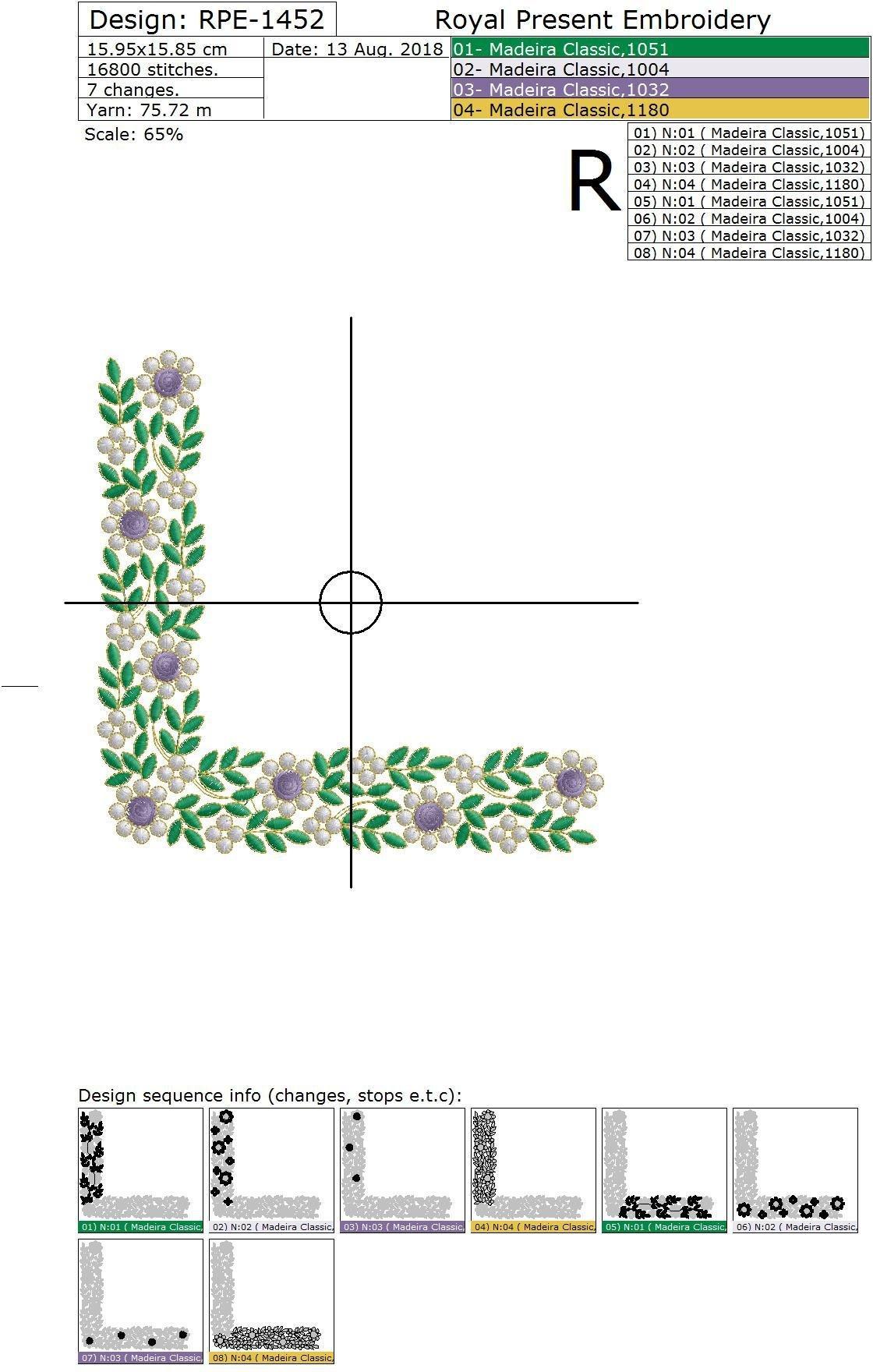 Дизайн машинной вышивки Изумрудный угловой орнамент