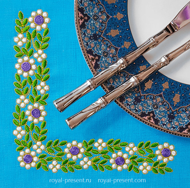 Дизайн машинной вышивки Изумрудный угловой орнамент RPE-1452