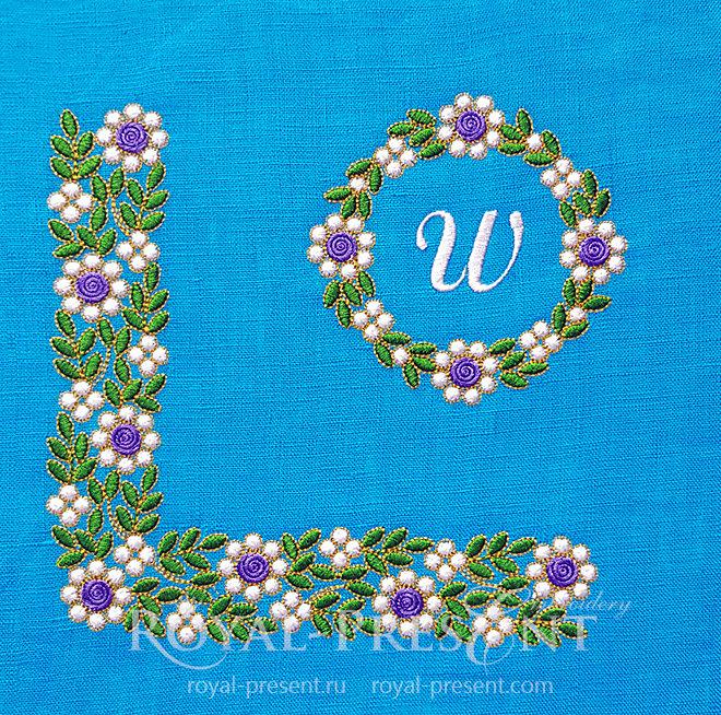 Набор Дизайнов машинной вышивки Изумрудные цветы RPE-1453