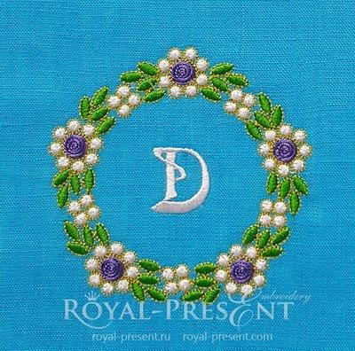 Дизайн машинной вышивки Обрамление Изумрудные цветы
