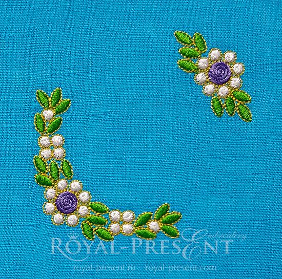 Мини дизайны машинной вышивки Изумрудные цветы RPE-1450