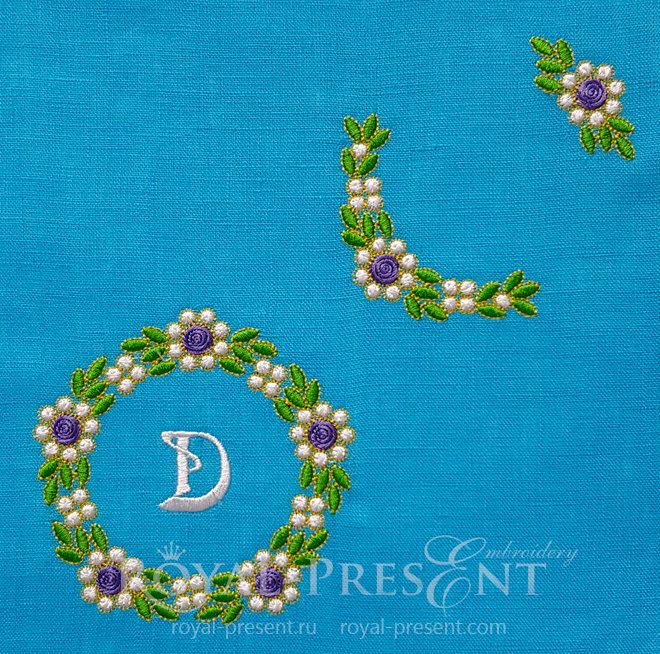 Три дизайна машинной вышивки Изумрудные цветы RPE-1454