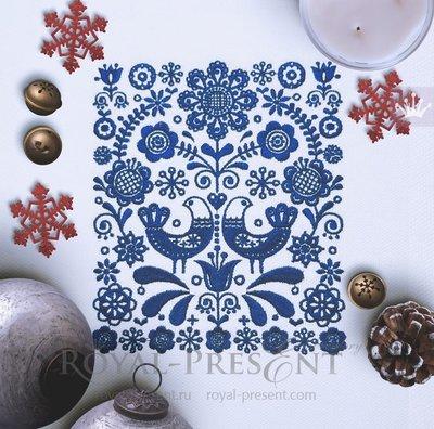 Скандинавский орнамент Дизайн машинной вышивки - 3 размера