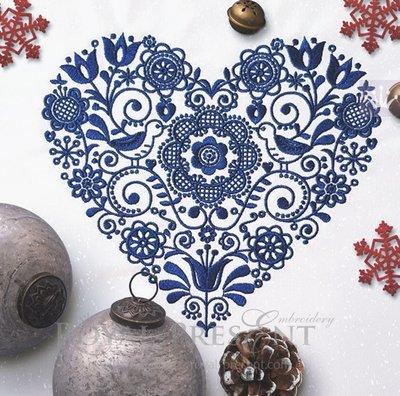 Дизайн машинной вышивки Скандинавский узор сердце - 2 размера