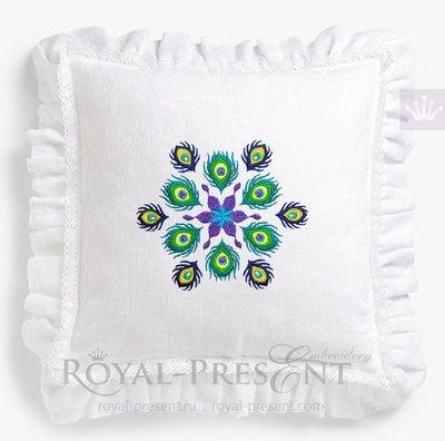Дизайн машинной вышивки Мандала Павлиньи Перья - 4 размера