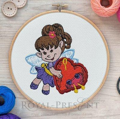 Дизайн машинной вышивки Маленькая швейная Фея с сердечком