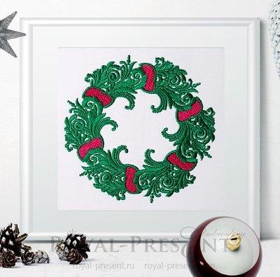 Дизайн машинной вышивки Рождественский венок с лентами