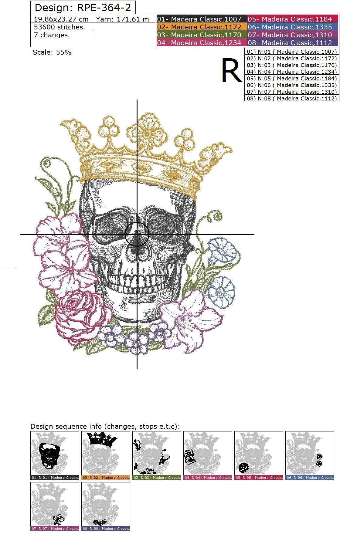 Дизайн машинной вышивки Череп в короне и цветах - 2 размера