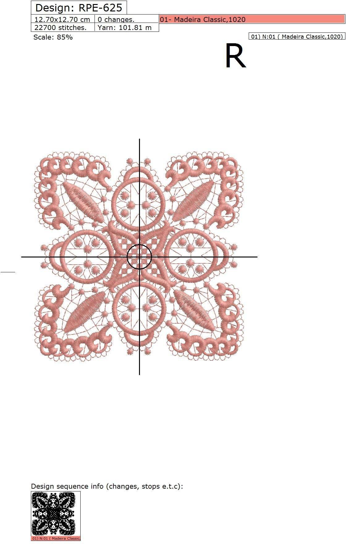 Дизайн машинной вышивки Кружевной квадрат