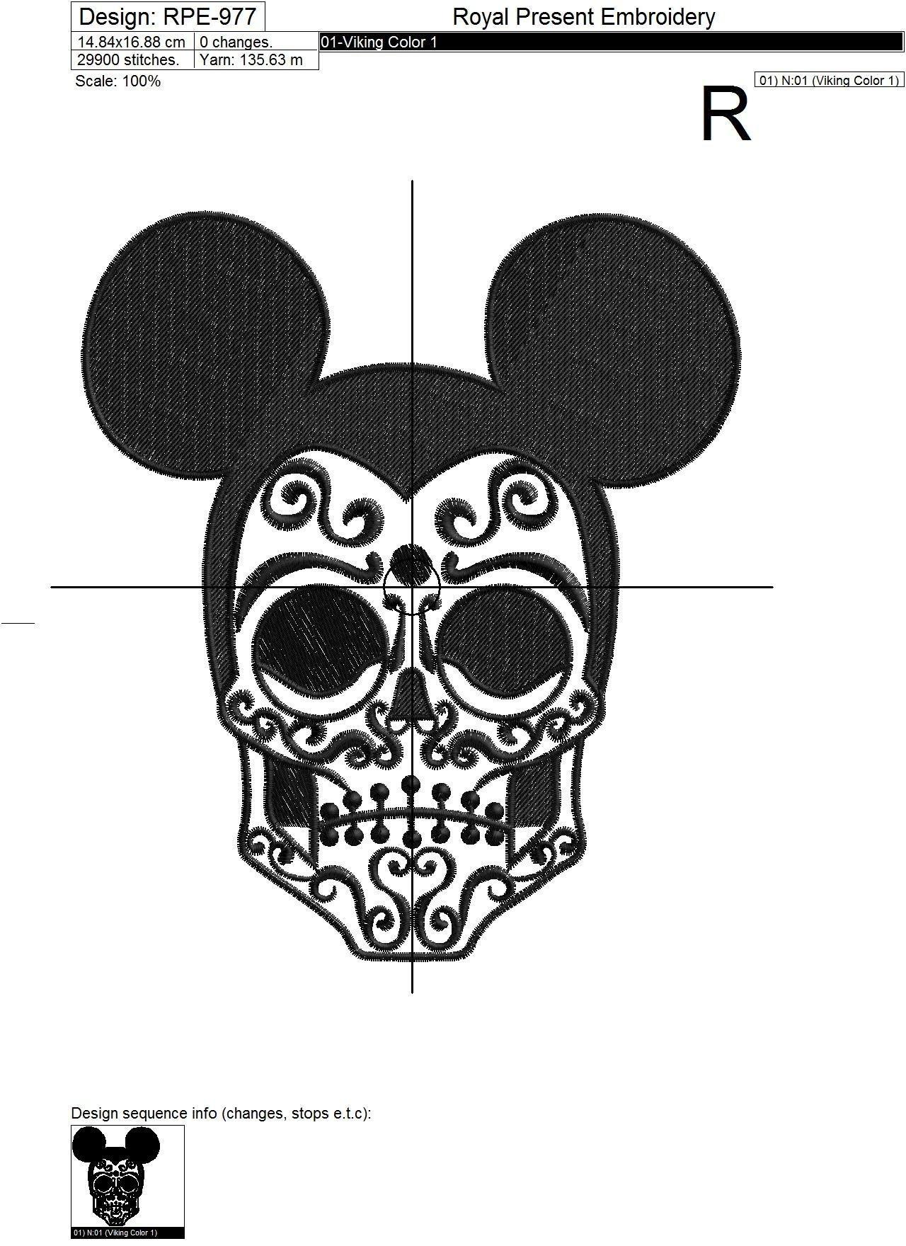 Дизайн машинной вышивки Dark Mouse - 3 размера