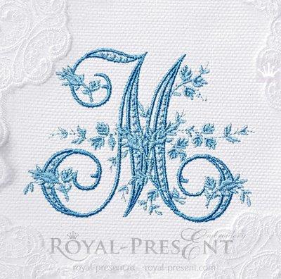 Дизайн машинной вышивки Монограмма винтажная буква M