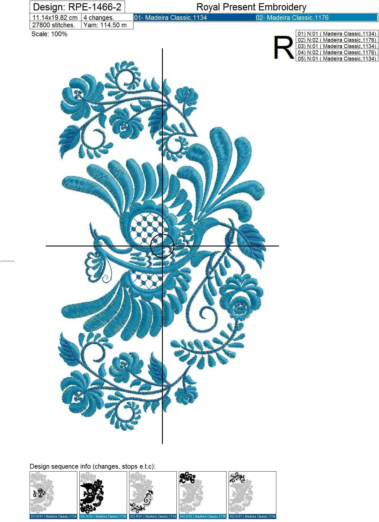 Дизайн машинной вышивки Жар Птица Гжель - 3 размера