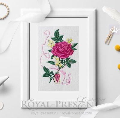 Дизайн машинной вышивки Роза и жасмин - 2 размера