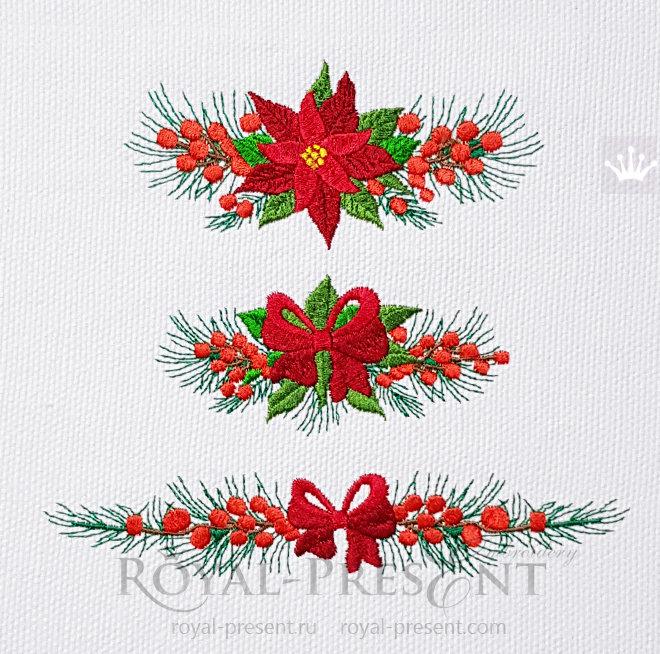 Набор Рождественских бордюров для машинной вышивки RPE-1470_7