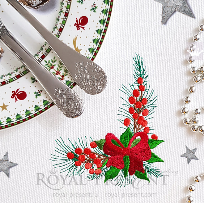 Угловой Новогодний Дизайн машинной вышивки с бантом - 2 размера RPE-1470_5