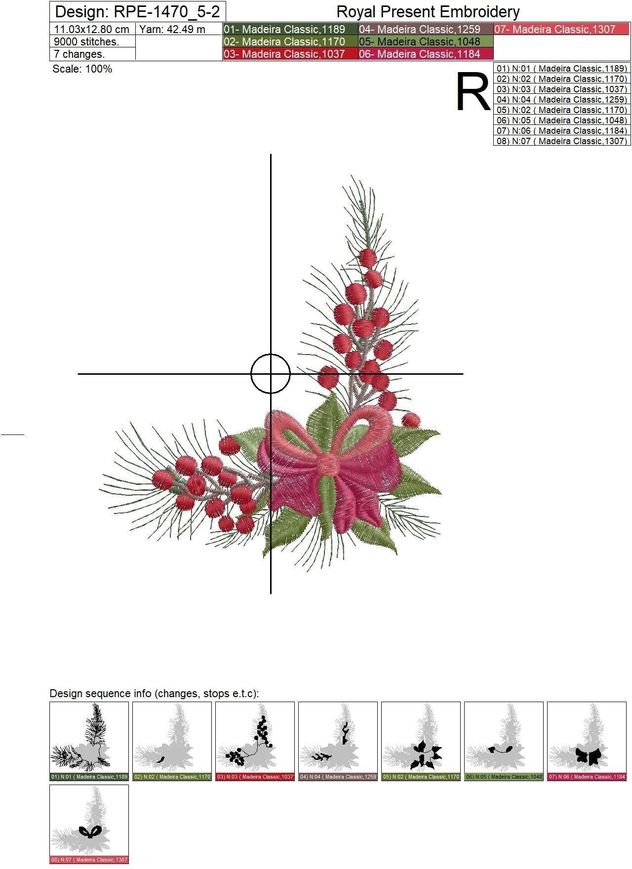 Угловой Новогодний Дизайн машинной вышивки с бантом - 2 размера