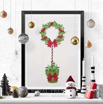 Дизайн машинной вышивки Новогоднее дерево со Снегирями - 2 размера
