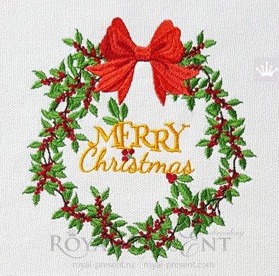 Дизайн машинной вышивки Рождественский венок с ягодами - 4 размера