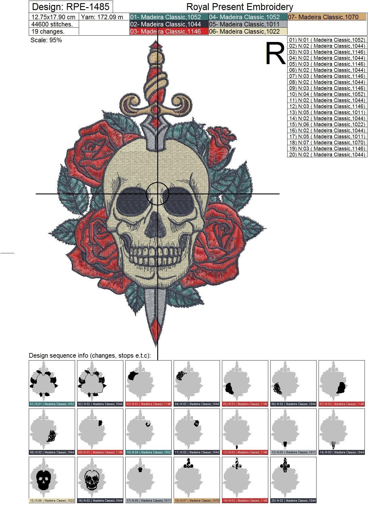 Дизайн машинной вышивки Череп в тату стиле