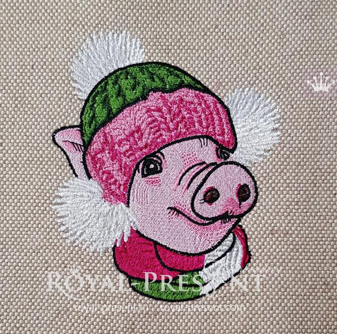 Дизайн машинной вышивки Новогодняя Свинья - 5 размеров