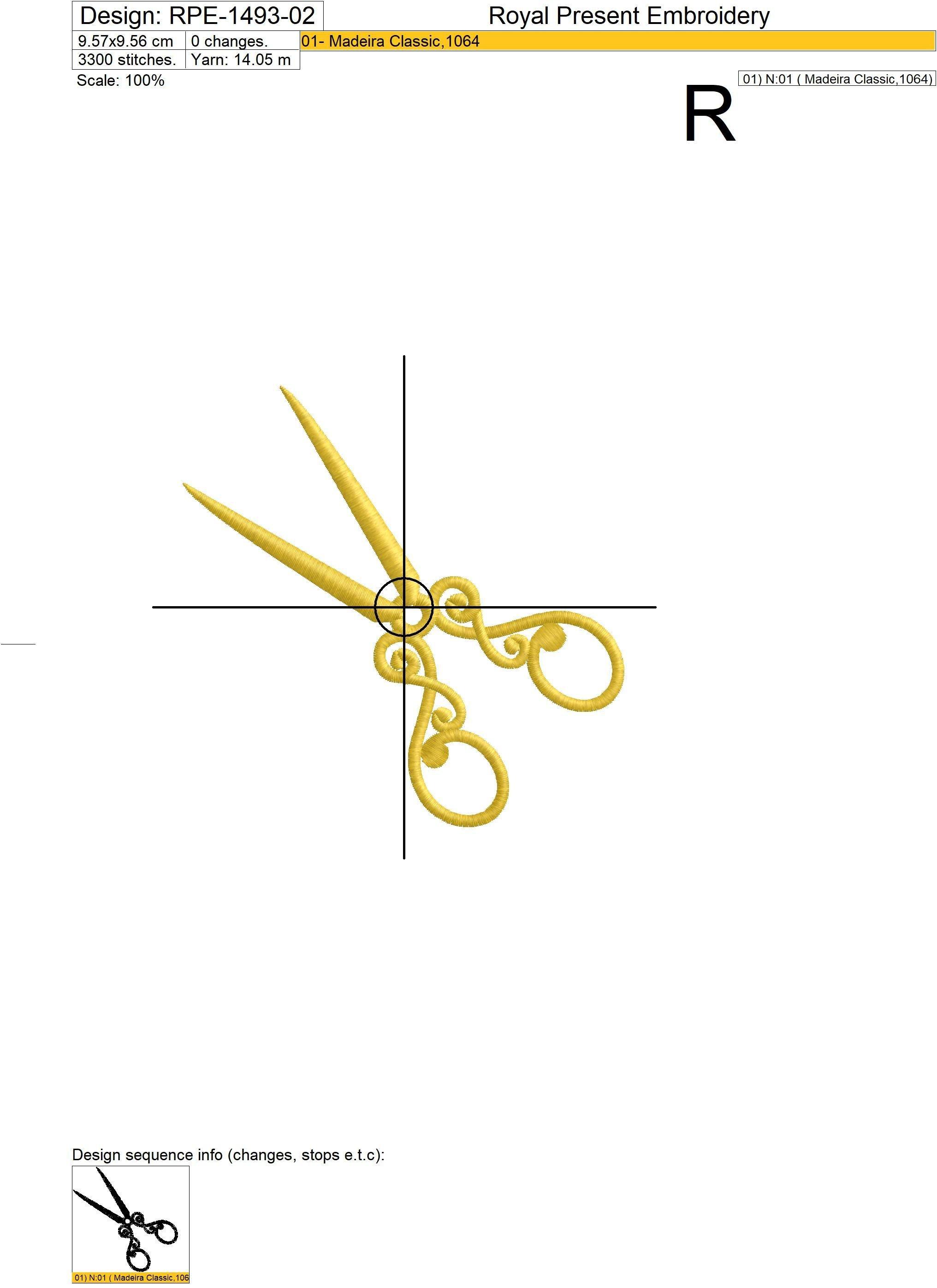 Дизайны машинной вышивки Старинные Ножницы