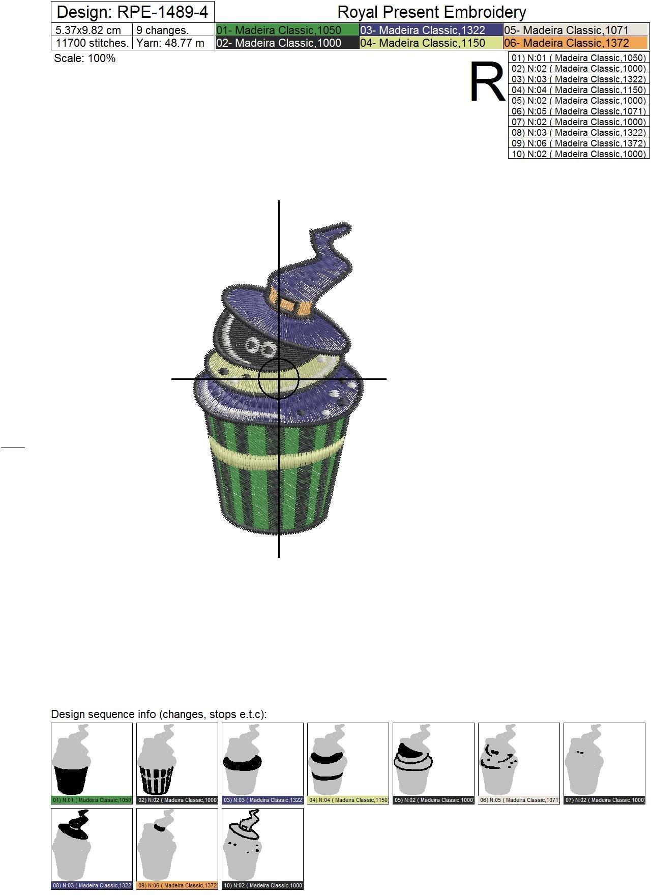 Дизайн машинной вышивки Кекс на Хэллоуин - 3 размера