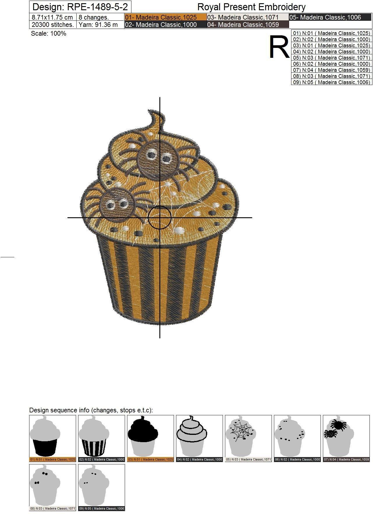 Дизайн машинной вышивки Кекс Хэллоуин с пауками - 3 размера
