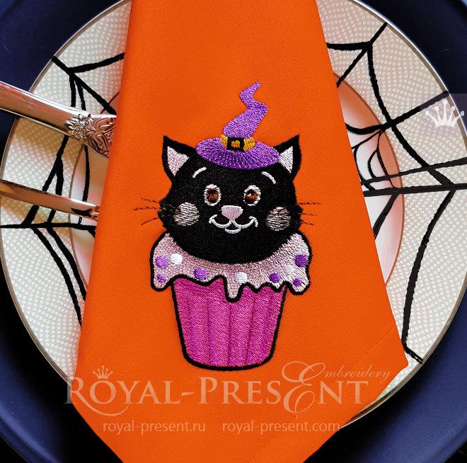 Дизайн машинной вышивки Кекс Хэллоуин Кошка - 3 размера