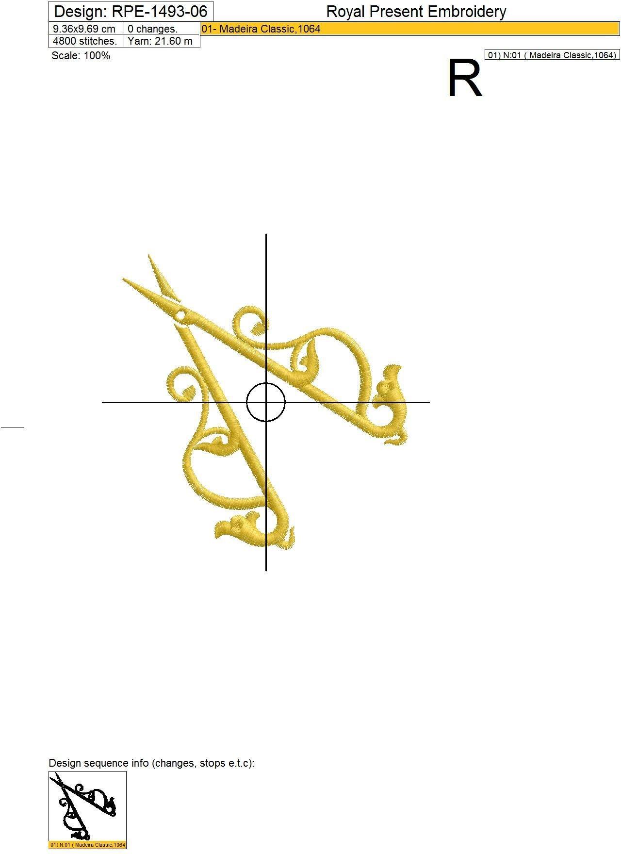 Дизайны машинной вышивки Ножницы