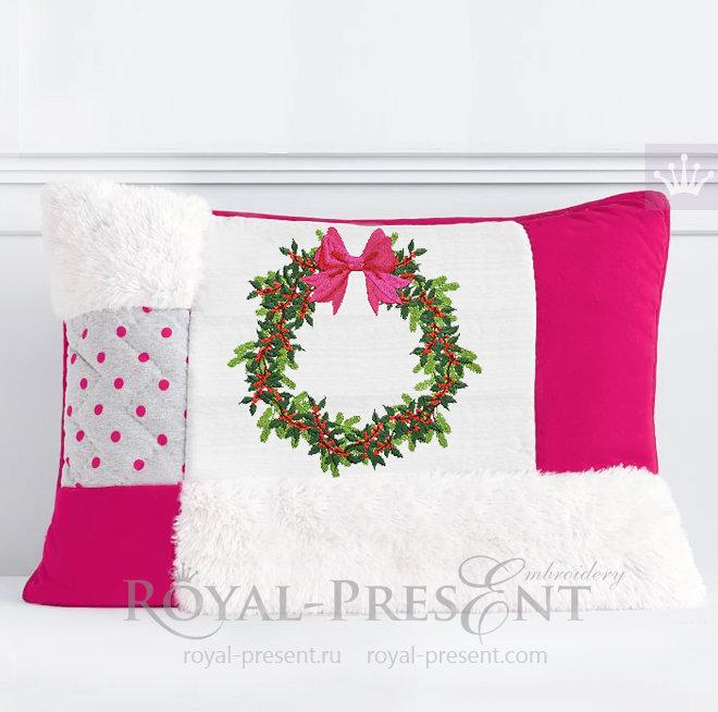 Рождественский венок с ягодами Дизайн машинной вышивки - 5 размеров RPE-1482