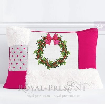 Рождественский венок с ягодами Дизайн машинной вышивки - 5 размеров