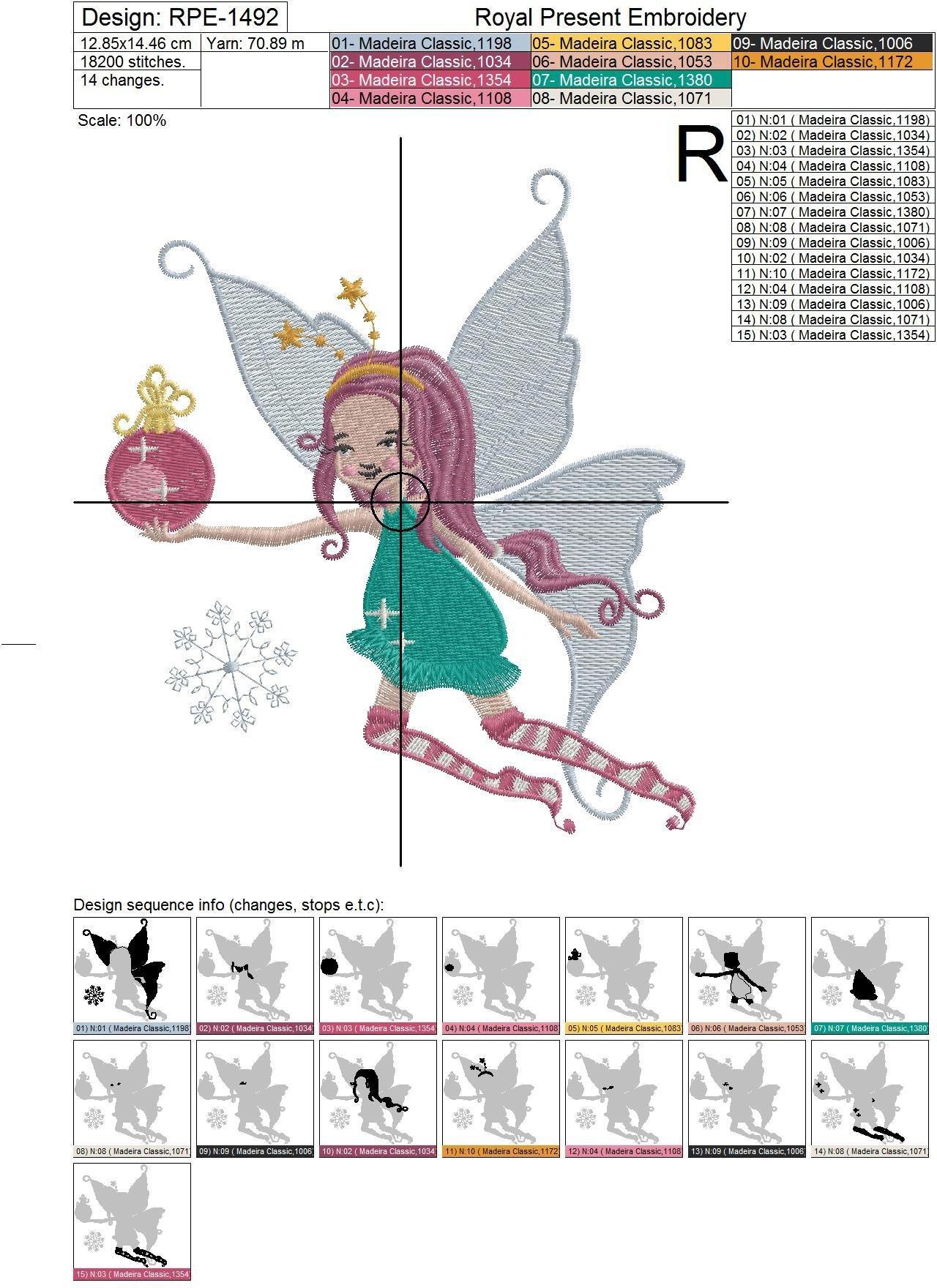 Дизайн машинной вышивки Новогодняя Фея с шариком - 4 размера