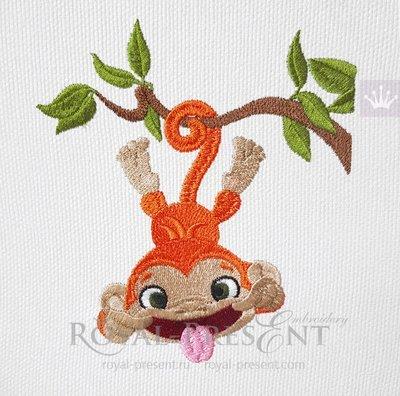 Дизайн для машинной вышивки Маленькая кривляка обезьянка