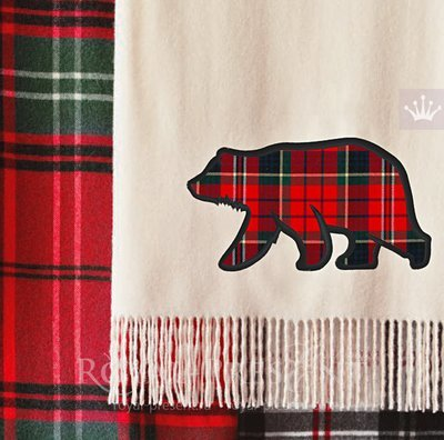 Аппликация для машинной вышивки Дикий Медведь - 4 размера