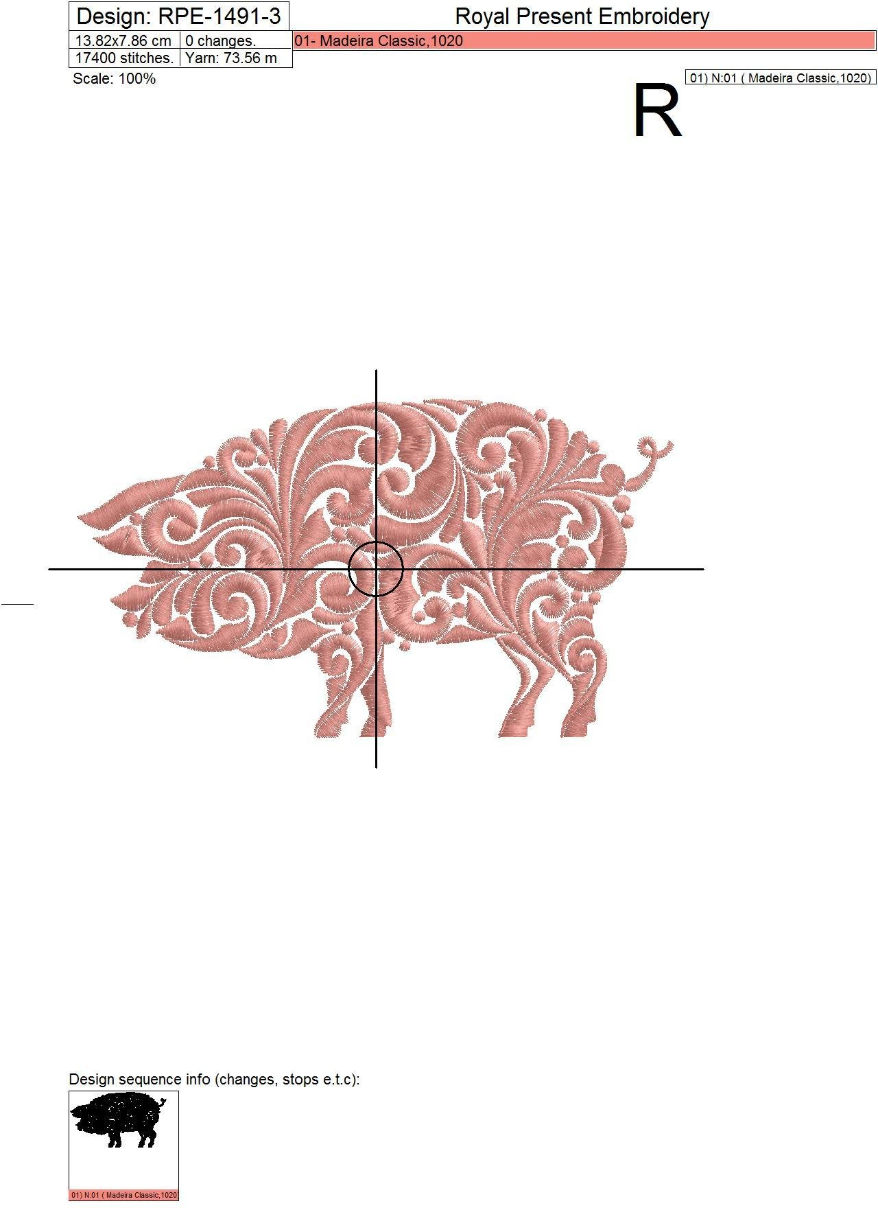 Дизайн машинной вышивки Орнаментальная Свинья - 3 размера