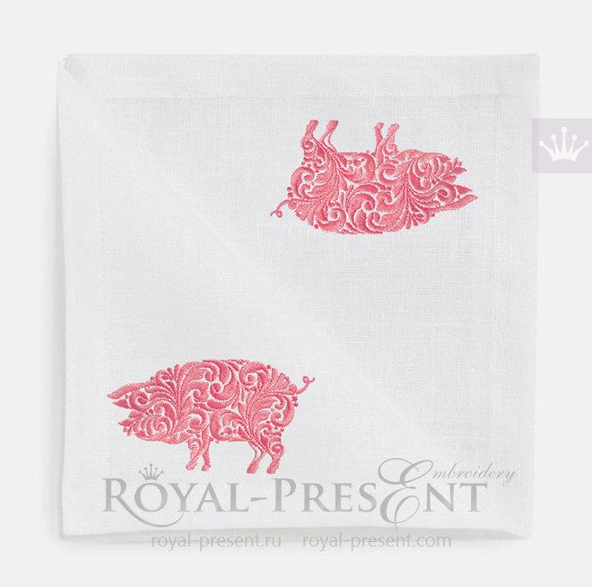 Дизайн машинной вышивки Орнаментальная Свинья - 3 размера RPE-1491