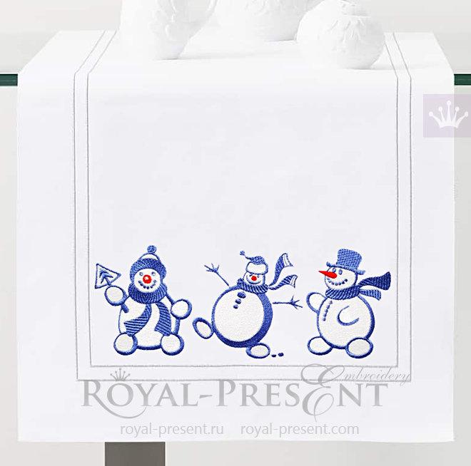 Дизайны машинной вышивки Три Снеговика RPE-1498