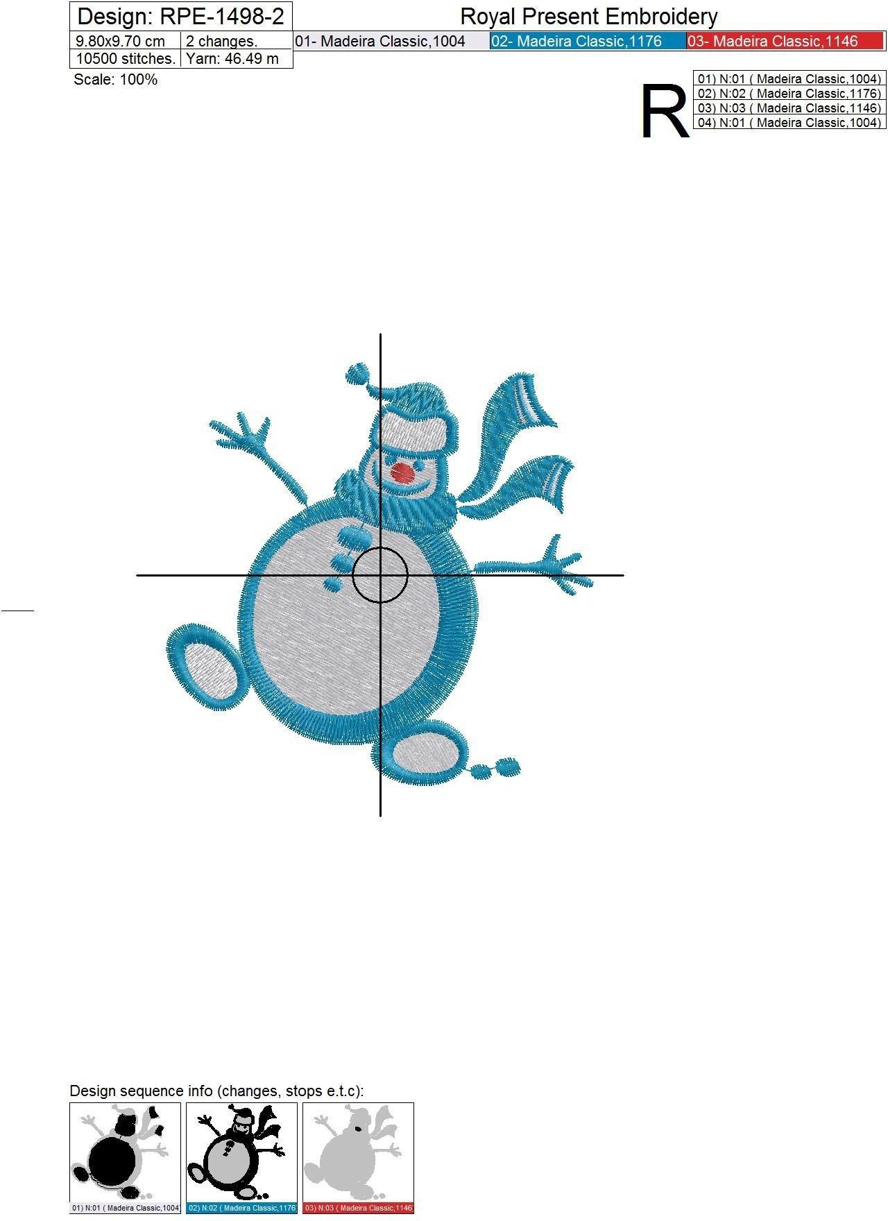 Дизайны машинной вышивки Три Снеговика