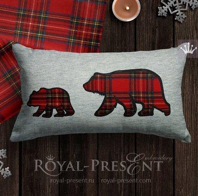 Аппликация для машинной вышивки Медведица и Медвежонок - 4 размера