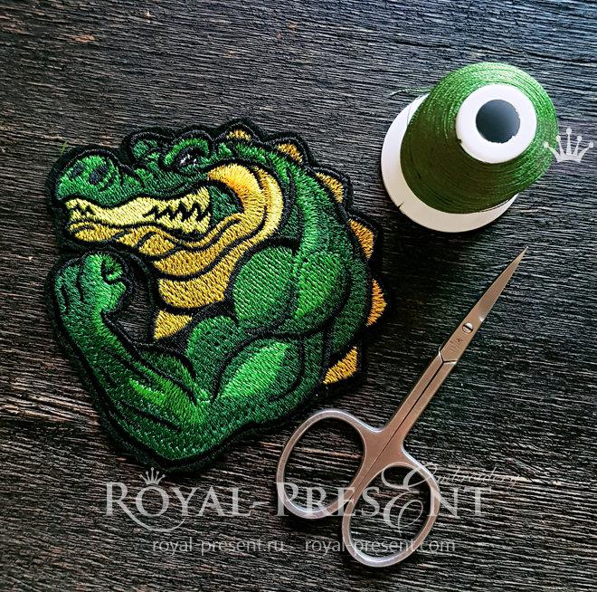 Дизайн машинной вышивки Крокодил Бодибилдер - 2 размера RPE-1495