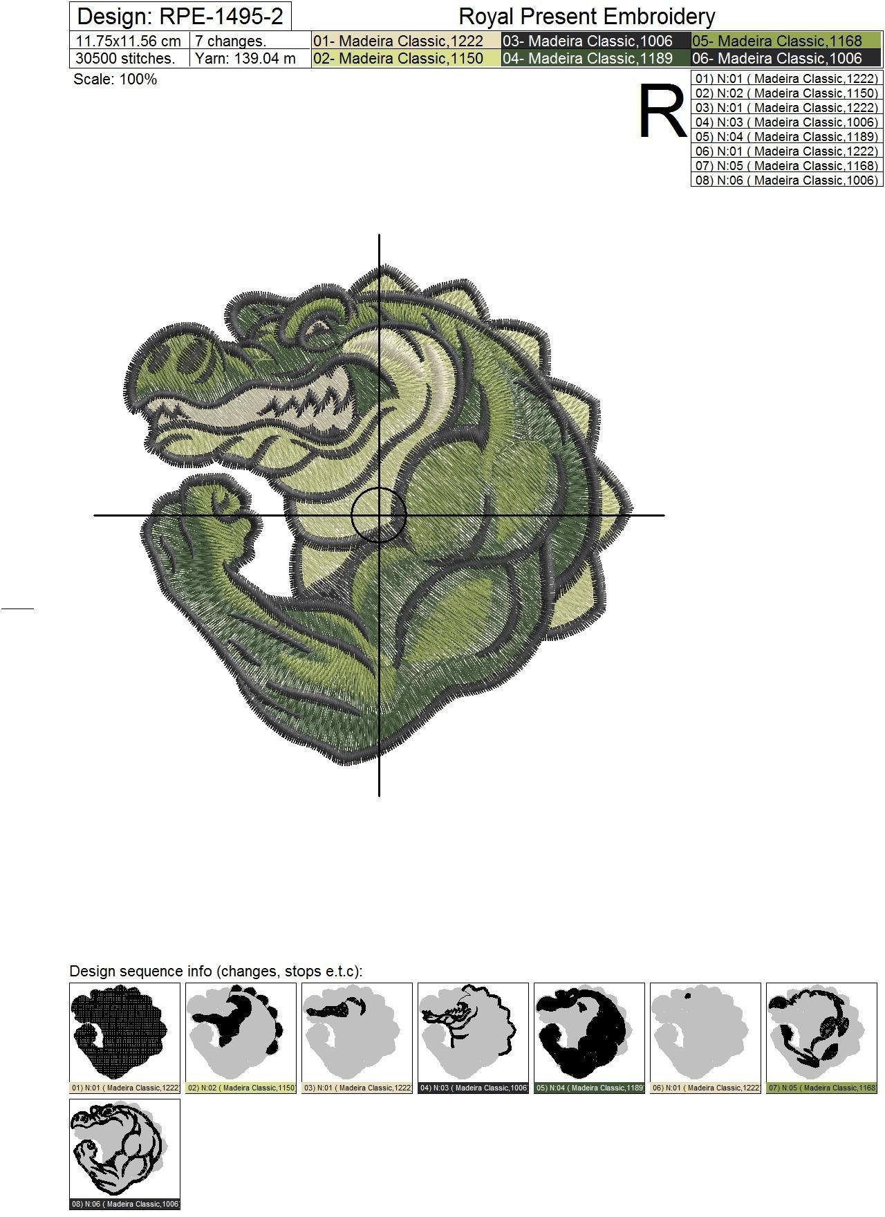 Дизайн машинной вышивки Крокодил Бодибилдер - 2 размера