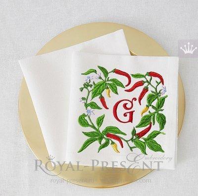 Дизайн машинной вышивки Кайенский перец Рамка - 2 размера