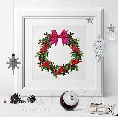 Дизайн машинной вышивки Рождественский венок с Снегирями - 3 размера