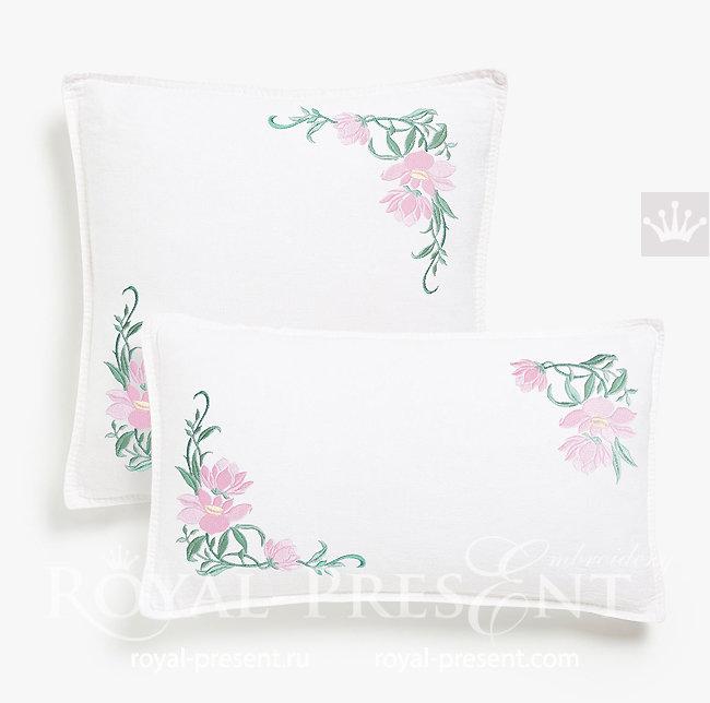 Дизайны машинной вышивки Цветы магнолии - 4 размера RPE-1515