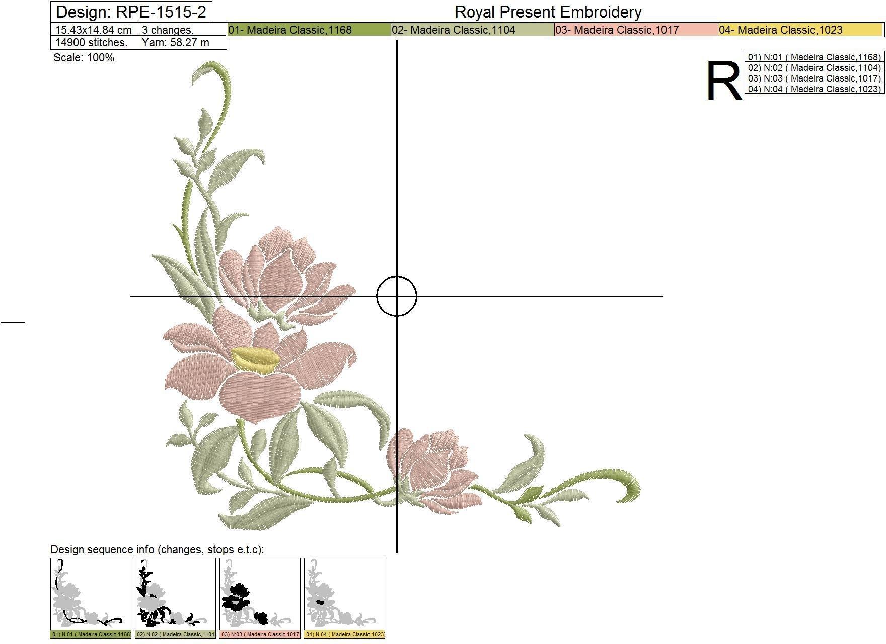 Дизайны машинной вышивки Цветы магнолии - 4 размера