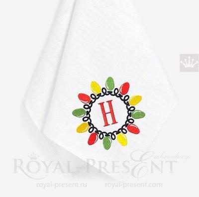 Дизайн машинной вышивки Рождественская Гирлянда