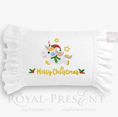 Дизайны машинной вышивки Рождественский Единорог - 2 в 1