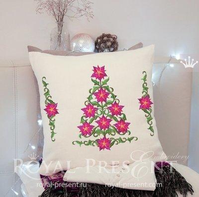 Новогодняя Елка из Пуансетий и бордюр для машинной вышивки - 3 размера