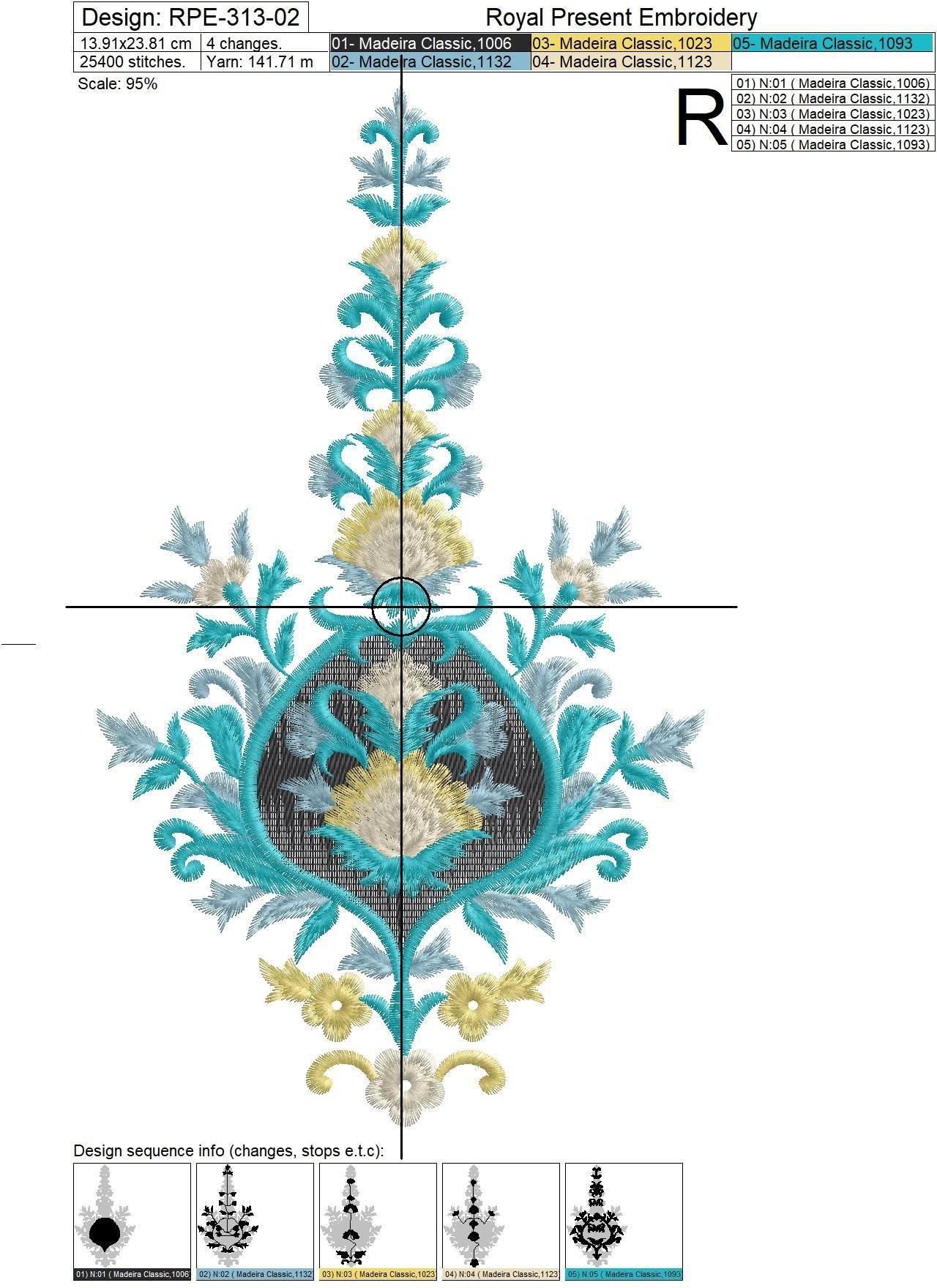 Бесплатный дизайн машинной вышивки Индийский Узор - 4 размера